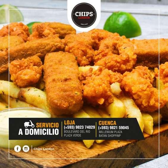 Fish and chips tablita de mariscos