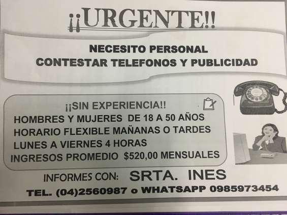 Contestar telefono y publicidad