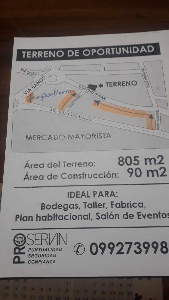 Oportunidad vendo 805 m2 o la mitad (402,5) m. mercado mayorista