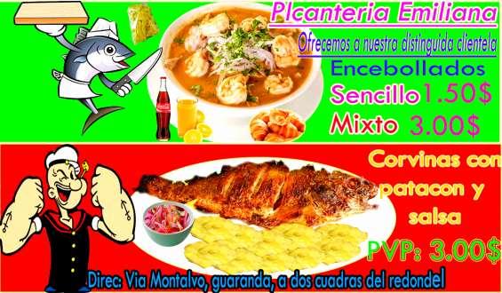 Picanteri emiliana, ofrecemos encebollados y corvina frita con patancon y salsa