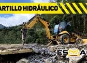 Alquiler de martillo hidráulico acoplado en retroexcavadora, demoliciones.