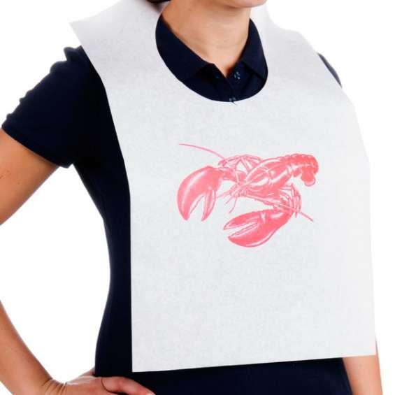 Baberos para comer cangrejos con el logo de su negocio
